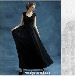 Fashion Floor Length Black Chiffon Evening Dress Queen Anne Zipper Back Prom Dress