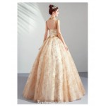 Bright Sparkle Floor-length Gold Ball Gown Fashion Standing Collar Open Back Lace-up Formal Dress With Sequines New