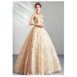 Bright Sparkle Floor Length Gold Ball Gown Fashion Standing Collar Open Back Lace Up Formal Dress With Sequines