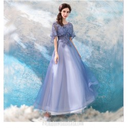 Fashionable Floor-length A-line Lavender Prom Dress Lotus Leaf Sleeve Lace-up Boat-neck Formal Dress With Beaded