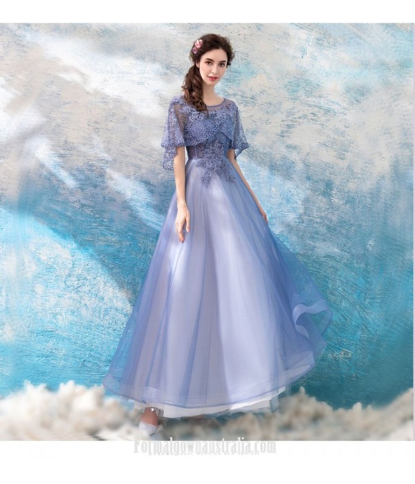 Fashionable Floor-length A-line Lavender Prom Dress Lotus Leaf Sleeve Lace-up Boat-neck Formal Dress With Beaded New