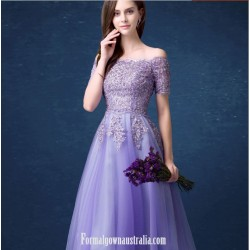 A Line Meidium Length Purple Tulle Prom Dress Off The Shoulder Lace Up Party Dress With Appliques Sequines
