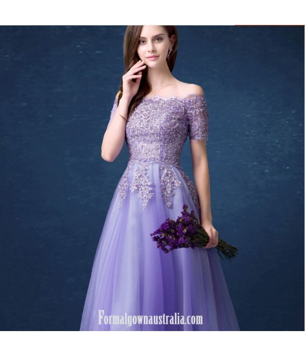 A-line Meidium-length Purple Tulle Prom Dress Off The Shoulder Lace-up Party Dress With Appliques/Sequines New