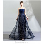 Dream Star Skirt Blue Floor-length Prom Dress Fashion Irregular Neckline Lace-up Sequined Sparkle & Shine Formal Dress With Sequines New