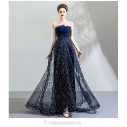 Dream Star Skirt Blue Floor-length Prom Dress Fashion Irregular Neckline Lace-up Sequined Sparkle & Shine Formal Dress With Sequines