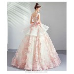 Beautiful Cherry Blossom Pink Princess Ball Gown Exquisite Embroidery Handmade Stereoscopic Flowers Lace-up Formal Dress With Sequines New