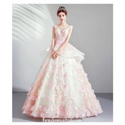 Beautiful Cherry Blossom Pink Princess Ball Gown Exquisite Embroidery Handmade Stereoscopic Flowers Lace Up Formal Dress With Sequines