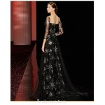 Noble Sweep/Brush Train Black Formal Dress Sequined Sparkle & Shine Illusion-nack Zipper Back Prom Dress With Sequines New