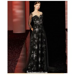 Noble Sweep/Brush Train Black Formal Dress Sequined Sparkle & Shine Illusion-nack Zipper Back Prom Dress With Sequines