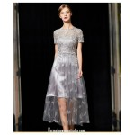 Allure Medium-length Grey Lace Formal Dress Lace Collar Zipper Back Short Sleeves Embroidery Prom Dress New