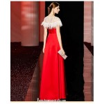 Fashionable A-line Floor-length Zipper Back Red Satin Prom Dress With Sequines/Feather New