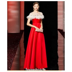 Fashionable A Line Floor Length Zipper Back Red Satin Prom Dress With Sequines Feather