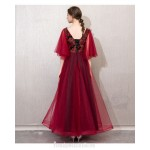 Contemporary Floor-length Burgundy Tulle Velvet Evening Dress Fashin Sleeves Lace-up Engagement Dress New