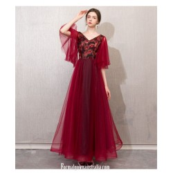 Contemporary Floor-length Burgundy Tulle Velvet Evening Dress Fashin Sleeves Lace-up Engagement Dress