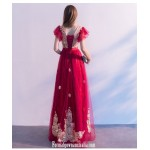 Contemporary A-line Floor-length Burgundy Tulle Semi Formal Dress V-neck Lace-up Homecoming Dress With Appliques New