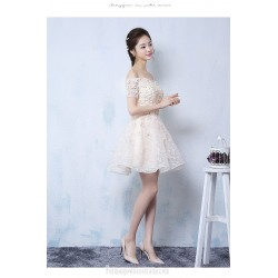 Elegant A-line Short Champagne Semi Formal Dress Off The Shoulder Lace-up Party Dress