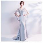 Glamorous Sweep/Brush Train Satin Grey Formal Dress Deep V-neck Backless Fashion Feifei Sleeve Prom Dress With Sequines New