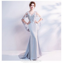 Glamorous Sweep/Brush Train Satin Grey Formal Dress Deep V-neck Backless Fashion Feifei Sleeve Prom Dress With Sequines