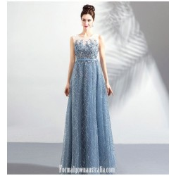 Brilliant Floor Length Haze Blue Formal Dress Sequined Sparkle &Amp; Shine Illusion Neck Zipper Back Prom Dress With Sequines Beaded