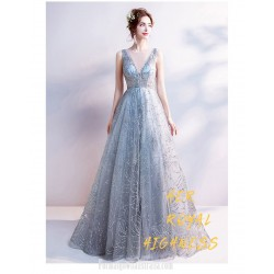 Glamorous Floor Length Grey Formal Dress Deep V Neck Sequined Sparkle &Amp; Shine Sleeveless Prom Dress With Sequines