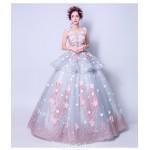 Romantic Floor-length Dream Blue Ball Gown Scoop-neck Keyhole Back Handmade Stereoscopic Flowers Formal Dress New