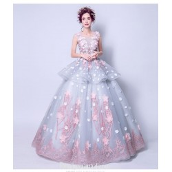 Romantic Floor-length Dream Blue Ball Gown Scoop-neck Keyhole Back Handmade Stereoscopic Flowers Formal Dress