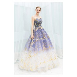 Dreamlike Starry Sky Gradual Change Skirt Blue Ball Gown Irregular Neckline Lace Up Floor Length Formal Dress