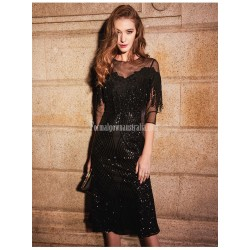 Sexy Medium Length Fish Tail Black Semi Formal Dress Illusion Neck 3 4 Sleeves Invisible Zipper Party Dress With Sequines