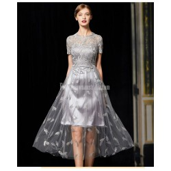 Fashionnable A Line Medium Length Embroidery Grey Lace Tulle Evening Dress