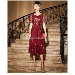 Gorgeous Sequined Sparkle &Amp; Shine V Neck Medium Length Burgundy Party Dress With Sequines Beading
