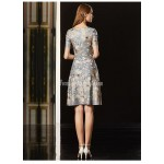 Fashionable Knee-length Semi Formal Dress Exquisite Embroidery Short Sleeves Zipper Back Party Dress With Beading New