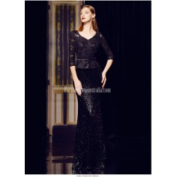 Sexy Mermaid/Trumpet Floor-length Black Prom Dress Sequined Sparkle & Shine 3/4 Sleeves Party Dress With Sequines