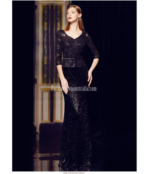 Sexy Mermaid/Trumpet Floor-length Black Prom Dress Sequined Sparkle & Shine 3/4 Sleeves Party Dress With Sequines New