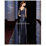 A-line Floor-length Dark Blue Satin Evening Dress Fashion Neckline Half-Sleeves Prom Dress With Beading New