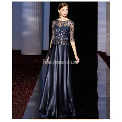 A-line Floor-length Dark Blue Satin  Evening Dress Fashion Neckline Half-Sleeves Prom Dress With Beading