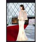 Elegant Mermaid/Trumpet Champagne Evening Dress Fashion Raglan Sleeve Exquisite Embroidery Party Dress With Sequines New