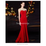 Fashionable Mermaid/Trumpet Floor-length Handmade Beading Red Satin Evening/Party Dress New