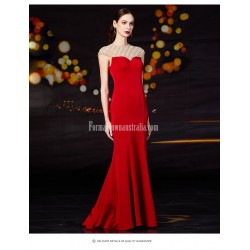 Fashionable Mermaid/Trumpet Floor-length Handmade Beading Red Satin Evening/Party Dress