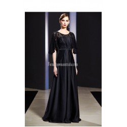 Classic Floor Length Zipper Back Half Sleeves Black Lace Satin Evening Prom Dress
