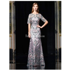 Noble And Elegant Sheath Column Floor Length Evening Dress Translucent Crew Neck Half Sleeves Heavy Embroidery Long Fish Tail Dress With Sequines
