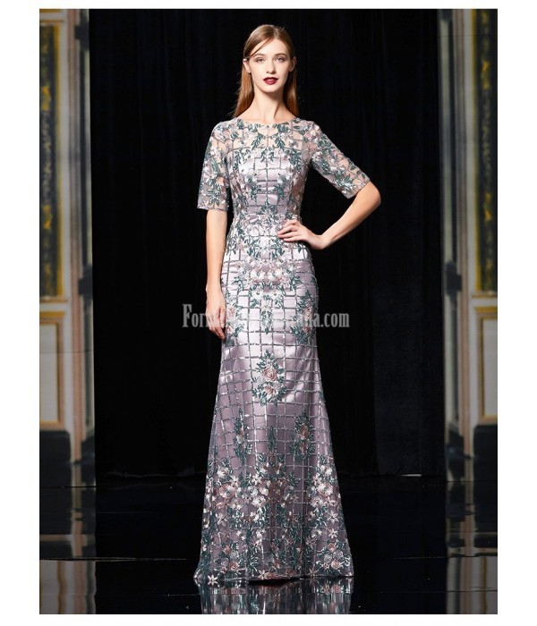 Noble and Elegant Sheath/Column Floor-length Evening Dress Translucent Crew Neck Half Sleeves Heavy Embroidery Long Fish Tail Dress With Sequines New