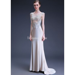 Sexy Mermaid Trumpet Trailing Exquisite Embroidery Grey Satin Evening Prom Dress With Sequines