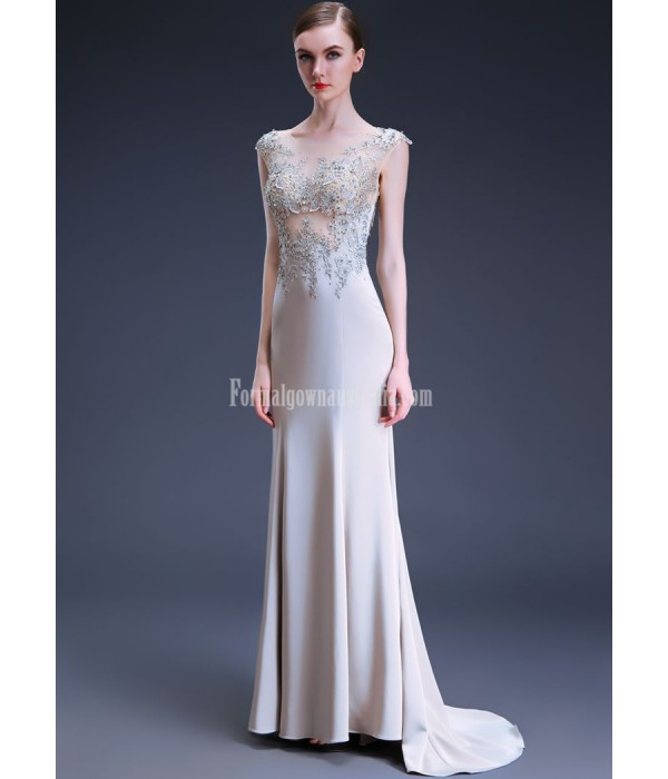 Sexy Mermaid/Trumpet Trailing Exquisite Embroidery Grey Satin Evening/Prom Dress With Sequines New