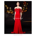 Beautiful Mermaid/Trumpet Trailing Fashion Fringe Zipper Back Red Satin Evening/Prom Dress With Sequines New