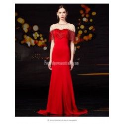Beautiful Mermaid Trumpet Trailing Fashion Fringe Zipper Back Red Satin Evening Prom Dress With Sequines