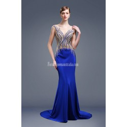 Noble And Elegant Mermaid Trumpet Trailing Invisible Zipper Luxury Hot Diamond Blue Satin Evening Prom Party Dress