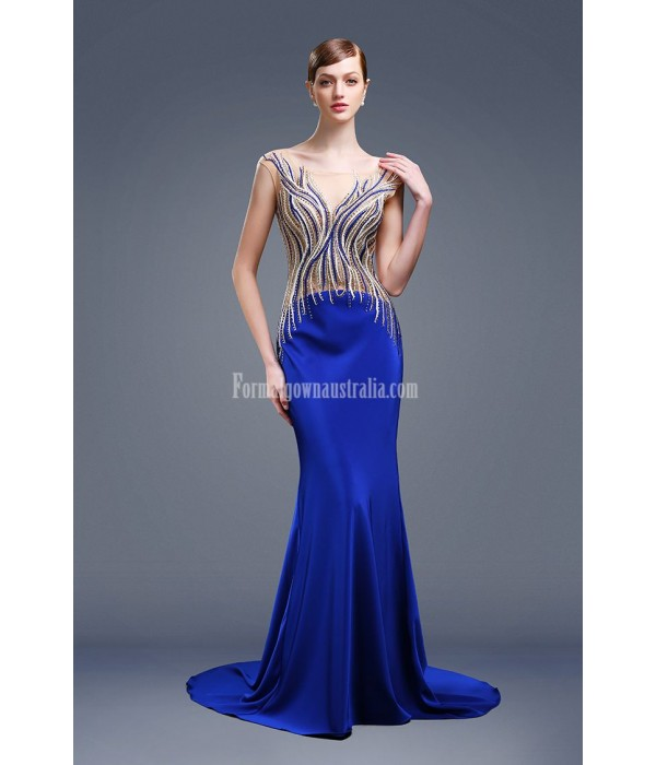 Noble and Elegant Mermaid/Trumpet Trailing Invisible Zipper Luxury hot Diamond Blue Satin Evening/Prom/Party Dress New