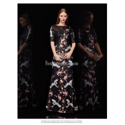 Fashion Sheath/Column Floor-length Black Prom Dress Crane Plum Blossom Embroidery Sequined Sparkle & Shine Invisible Zipper Party Dress