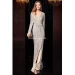 Brilliant Mermaid/Trumpet Floor-Length Grey Prom Dress Sequined Sparkle & Shine Long Sleeves Party Dress With Sequines/Side Slit New