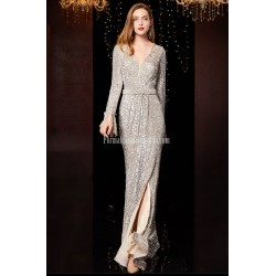 Brilliant Mermaid/Trumpet Floor-Length Grey Prom Dress Sequined Sparkle & Shine Long Sleeves Party Dress With Sequines/Side Slit